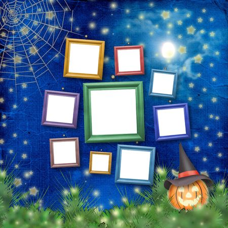 cucurbit: Wooden frames with pumpkin and flowers on the nightly background