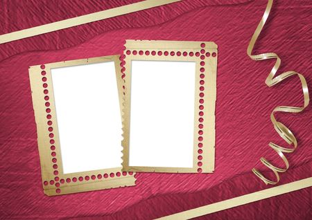 lacet: Pink abstract background with frame and gold lacet