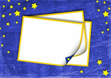 frame on the blue abstract background with stars photo