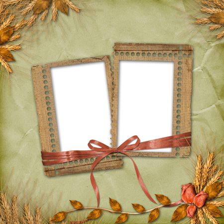 Grunge frames in scrapbooking style with bunch of rose photo
