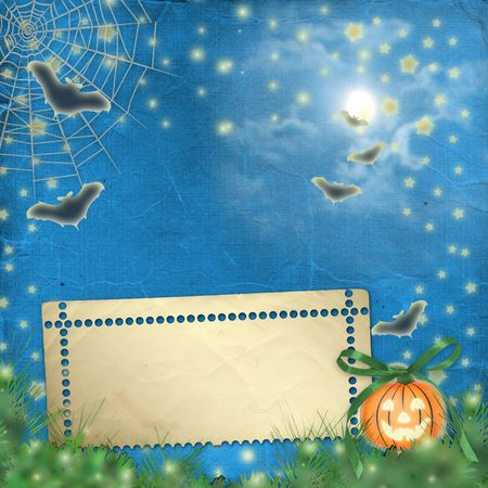 cucurbit: postcard holiday with pumpkin and flowers on the nightly background Stock Photo
