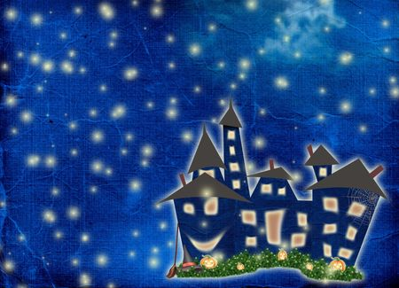 nightly: Postcard holiday with castle and pumpkin on the nightly background