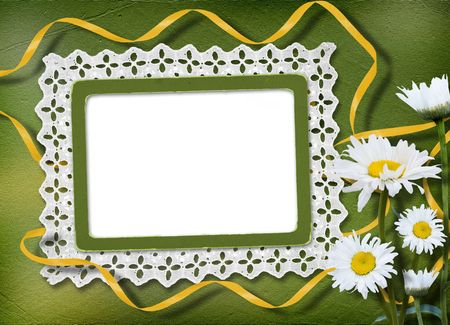 snowwhite: Green abstract background with frame and floral beautiful bouquet