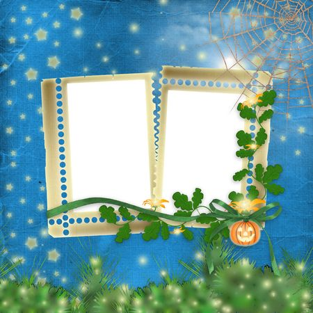 nightly: Frame for photo with pumpkin and flowers on the nightly background