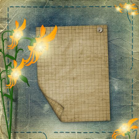 sheet advertising with flowers on the shabby background Stock Photo - 5708715