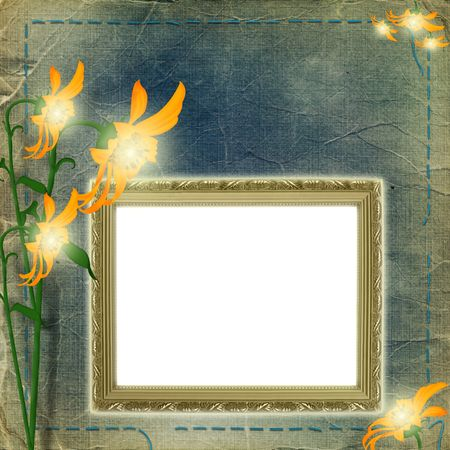 Frame for photo with flowers on the shabby background photo
