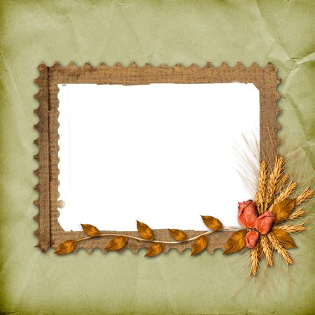 Grunge frame in scrapbooking style with bunch of rose photo