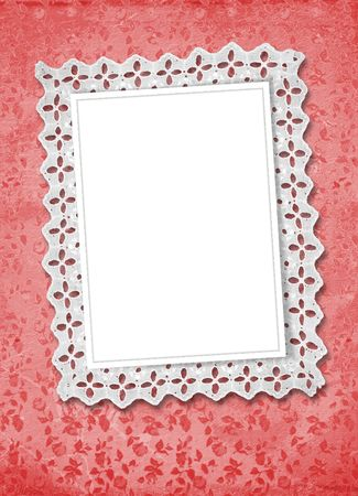 abloom: Red abstract background with frame and beautiful lace Stock Photo