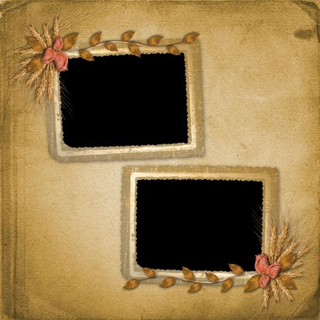 alienated: Grunge frame in scrapbooking style with bunch of rose