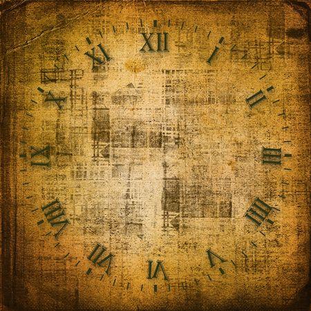 horloge ancienne: Antique cadran de l'horloge sur le fond abstrait
