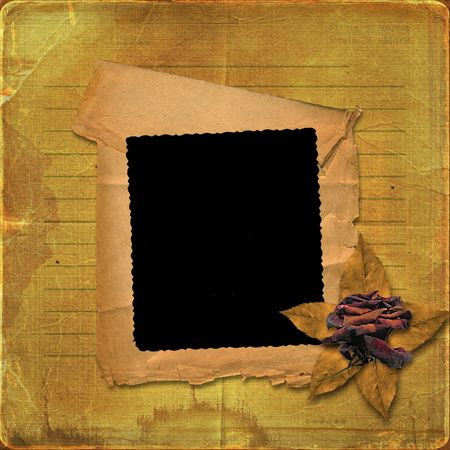 Grunge paper frame with drawing-pin on the abstract background photo
