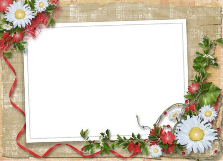 alienated: Paper frame with floral beautiful bouquet on the alienated background
