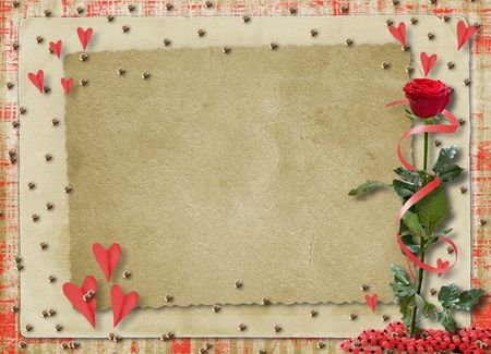 wedlock: Card for congratulation or invitation with red hearts and red rose