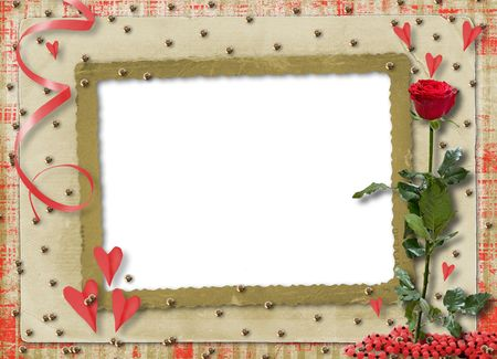 Card for congratulation or invitation with red hearts and red rose Stock Photo - 5765907