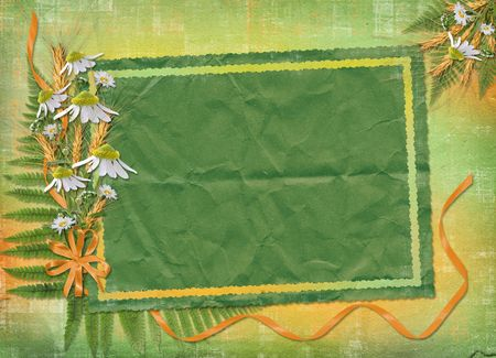 oxeye: Green abstract background with frame and floral beautiful bouquet