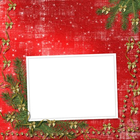 lacet: Card for congratulation with ribbons and bows on abstract background Stock Photo
