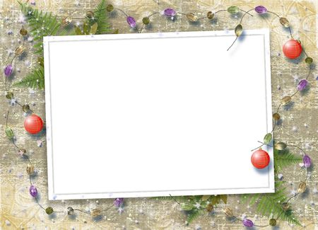 lacet: Card for congratulation with sphere and beads on abstract background
