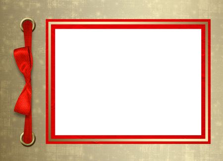 wedlock: Card for congratulation or invitation with gold frame and red bow