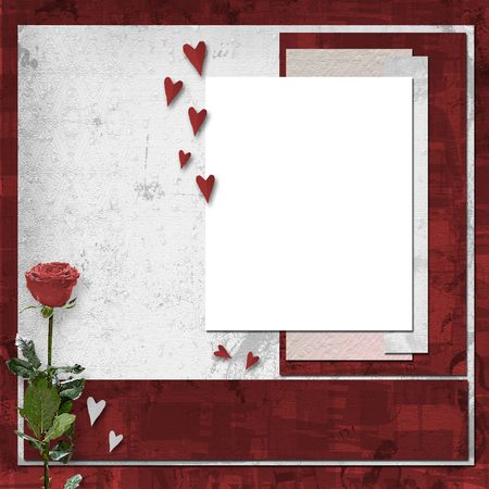 vinous: Card for congratulation or invitation with vinous rose
