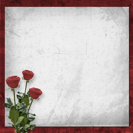 betrothal: Card for congratulation or invitation with vinous roses