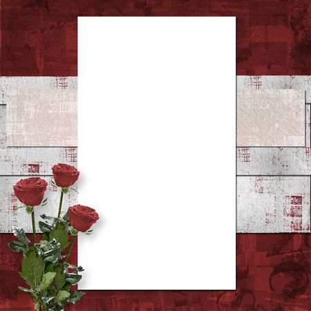 the album announcement: Card for congratulation or invitation with vinous roses