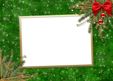 Greeting card for the holiday, with a red ribbon and branches of spruce photo