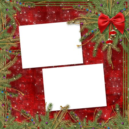 trumpery: Greeting card for the holiday, with a red ribbon and branches of spruce