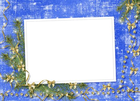 trumpery: Card for congratulation with ribbons and bows on abstract background Stock Photo