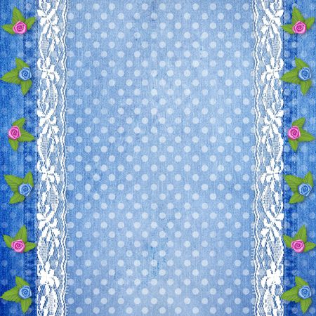 buttonhole: Abstract blue jeans background with lace and buttonhole for greeting