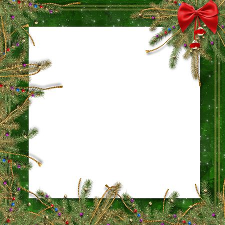 lacet: Greeting card for the holiday, with a red ribbon and branches of spruce