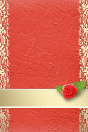 Card for invitation or congratulation with buttonhole and lace Stock Photo - 5857605