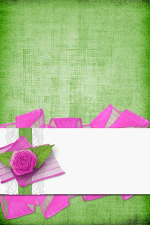 Card for invitation or congratulation with buttonhole and lace Stock Photo - 5857609