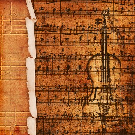 Cover for musical album with sketch of old violin photo