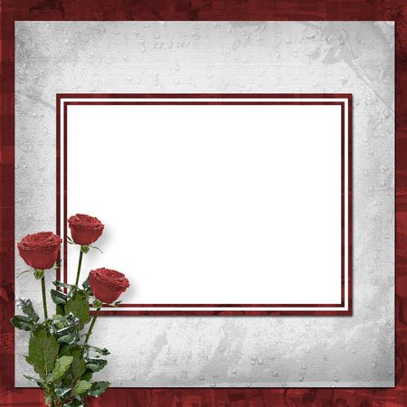 Card for congratulation or invitation with vinous roses photo
