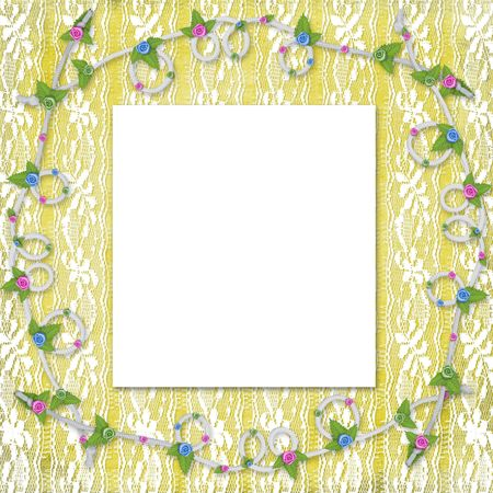Card for invitation or congratulation with buttonhole and lace Stock Photo - 5899494