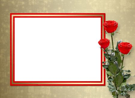 Card for congratulation or invitation with red roses Stock Photo - 5958025