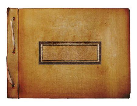 Old grunge album with gold wooden sticker photo