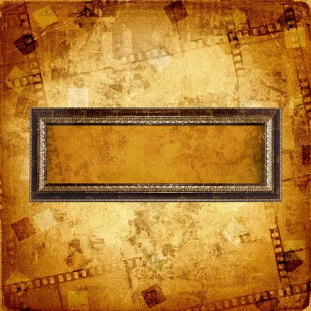 Old gold frame on the abstract background photo