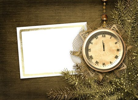 Antique clock face with lace and firtree on the abstract background Stock Photo - 5988637