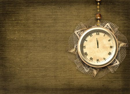 Antique clock face with lace on the abstract background Stock Photo - 5988652
