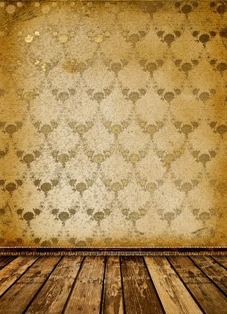 baroque room: Old room with worn wallpaper and former beauty Stock Photo