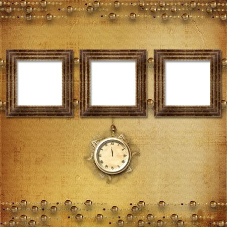 adorning: Antique clock face with lace on the abstract background