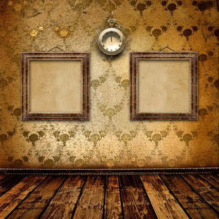 Antique clock face with lace and frames on the wall in the room photo