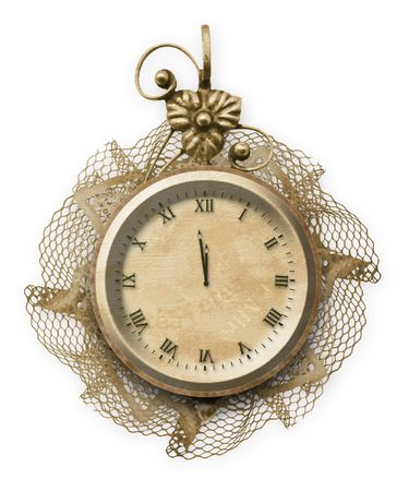 antique clock: Antique clock face with lace on the white isolated background