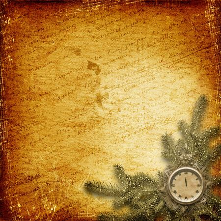 Antique clock face with lace and firtree on the abstract background Stock Photo - 6036795