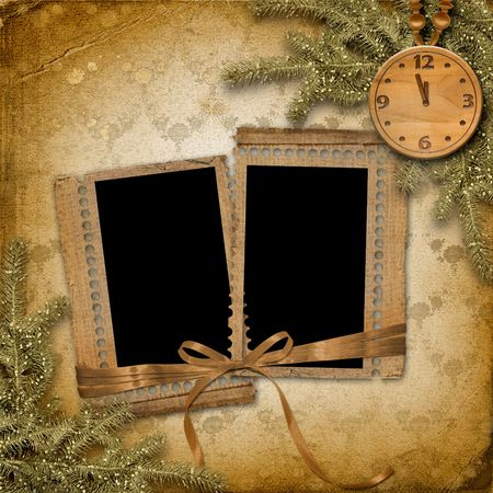 time frame: Antique clock face with and firtree on the abstract background