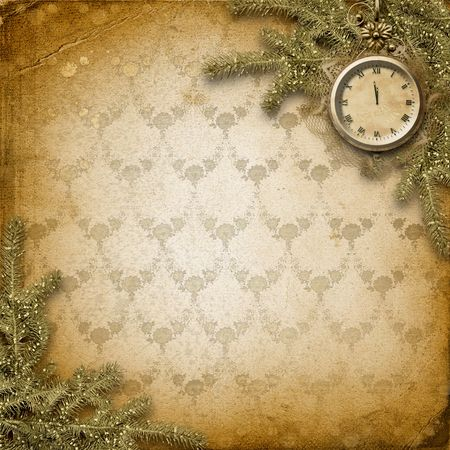 Antique clock face with lace and firtree on the abstract background Stock Photo - 6036801