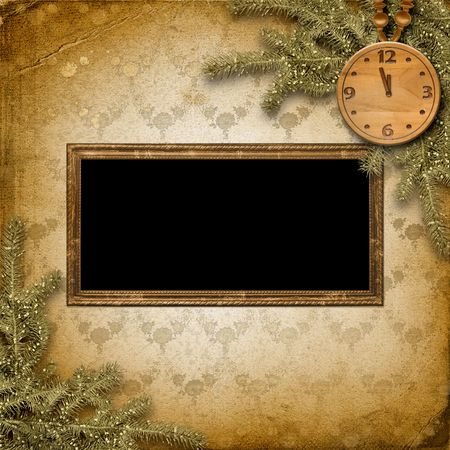 Antique clock face with and firtree on the abstract background Stock Photo - 6036842