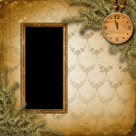 Antique clock face with and firtree on the abstract background photo