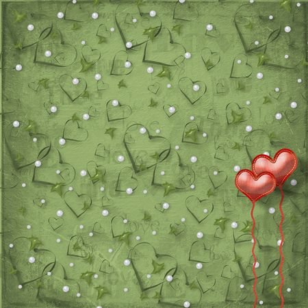 the album announcement: Valentines day card with hearts on the abstract green background Stock Photo